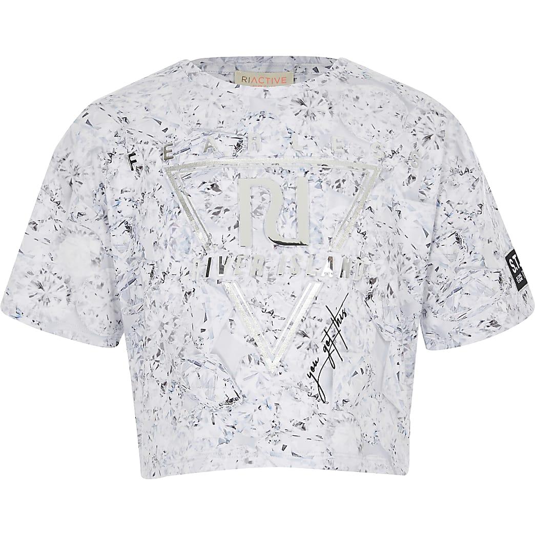 T-shirt court RI fearless argenté pour fille