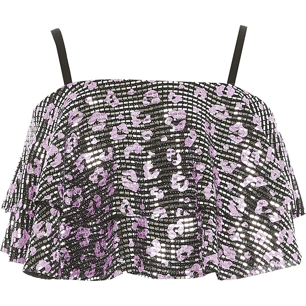 Girls black sequin embellished crop top