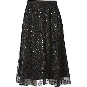 Zwarte midi-jurk met meshen lovertjes voor meisjes