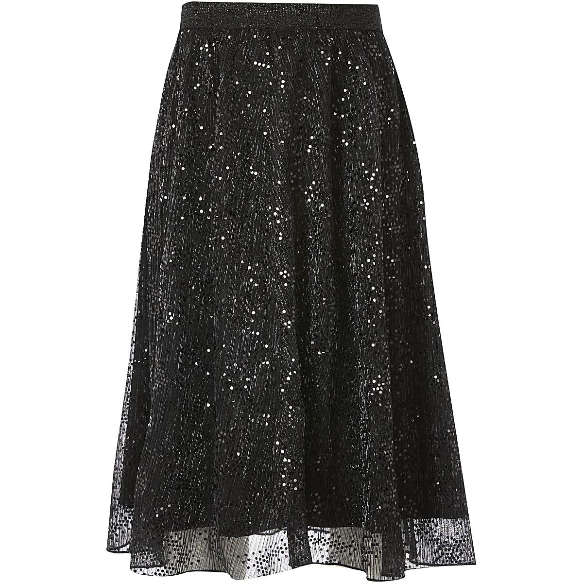 Girls black mesh sequin midi skirt