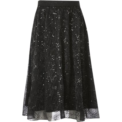 Girls black mesh sequin midi skirt