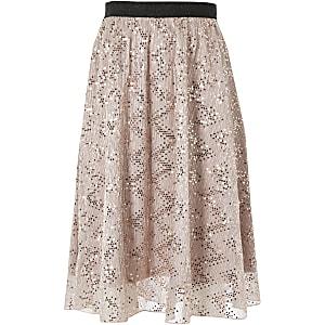 Fille - Jupe mi-longue rose à paillettes en tulle