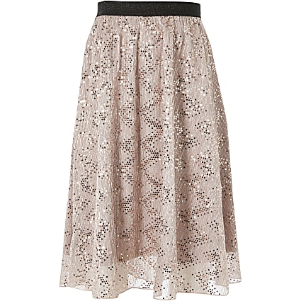Girls pink mesh sequin midi skirt