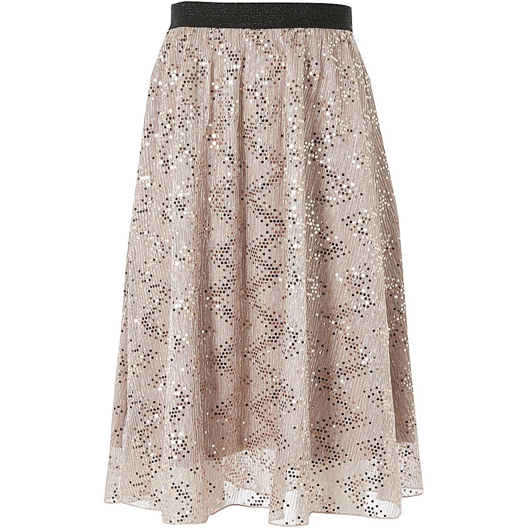 Girls pink mesh sequin midi skirt