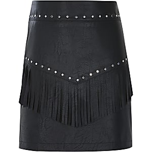 Jupe en cuir synthétique noir clouté à franges pour fille