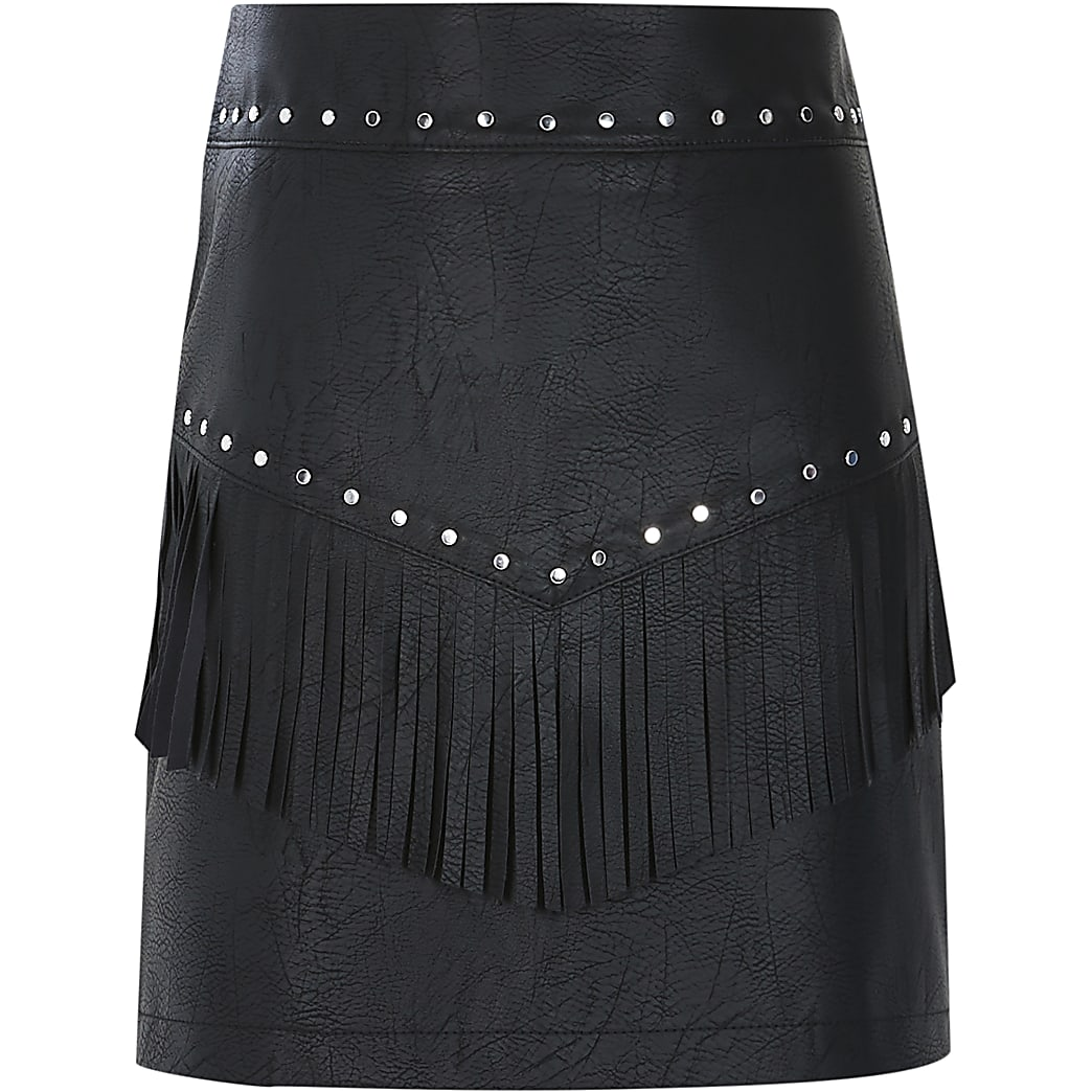 Girls black faux leather tassel stud skirt