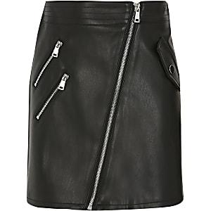 Zwarte rok van imitatieleer met bikerritsen voor meisjes