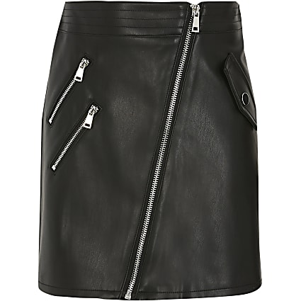 Girls black faux leather biker zip skirt