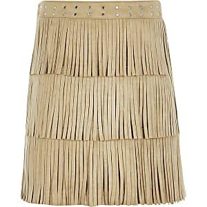 Beige suèdine A-lijn rok met franje voor meisjes