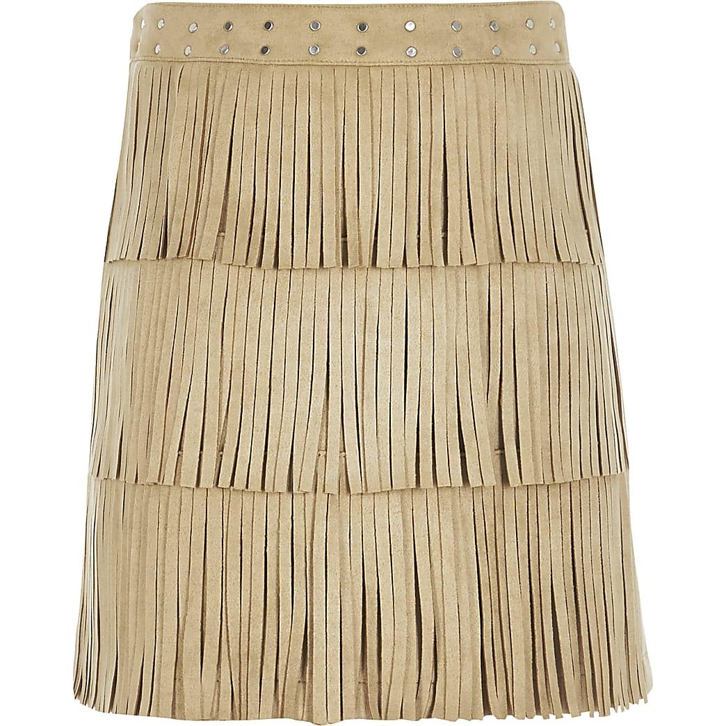 Girls beige suedette A line fringe skirt