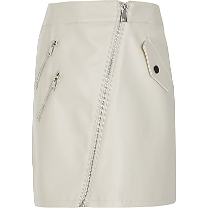 Girls cream faux leather biker zip skirt
