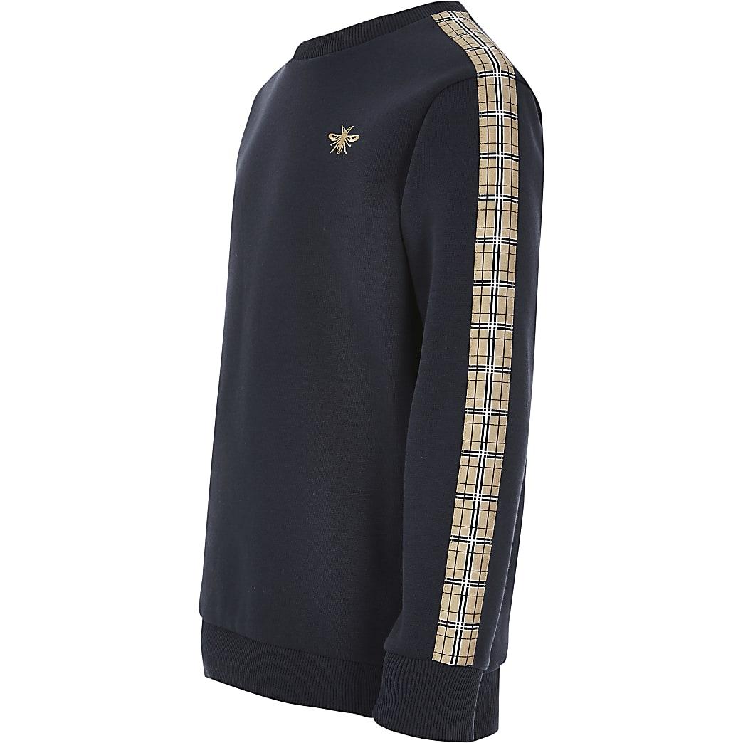Marineblaues Sweatshirt mit Karomuster für Jungen