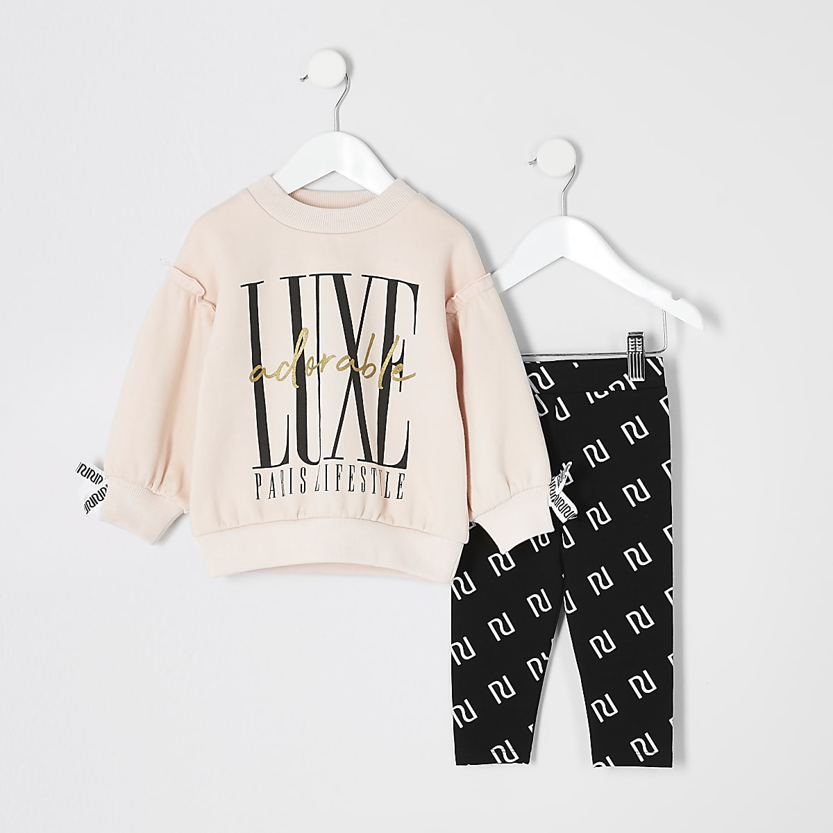 Mini girls pink 'Luxe' RI sweatshirt outfit