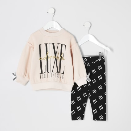 Mini girls pink 'Luxe' RI sweatshirt outfit