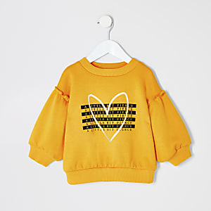 Mini - Geel sweatshirt met 'fierce'-tekst voor meisjes