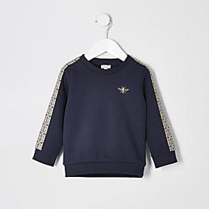 Mini - Marineblauw geruit sweatshirt met print voor jongens
