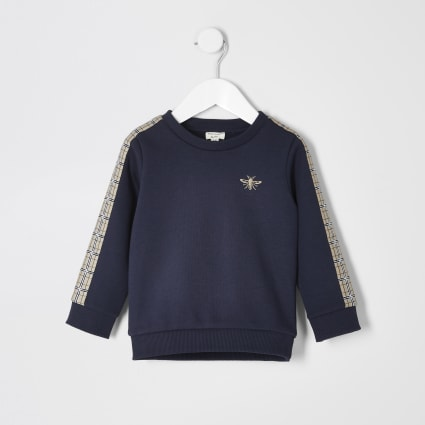 Mini boys navy check taped sweatshirt