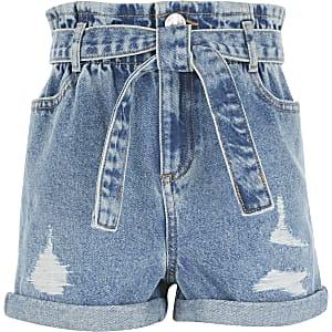 Shorts en denimbleus déchirés avec taille haute ceinturée pour fille