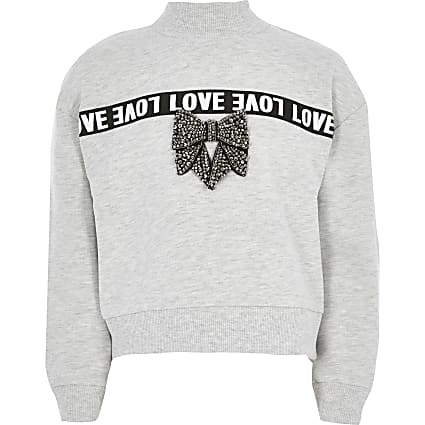 Girls grey 'Love' tape bow sweatshirt