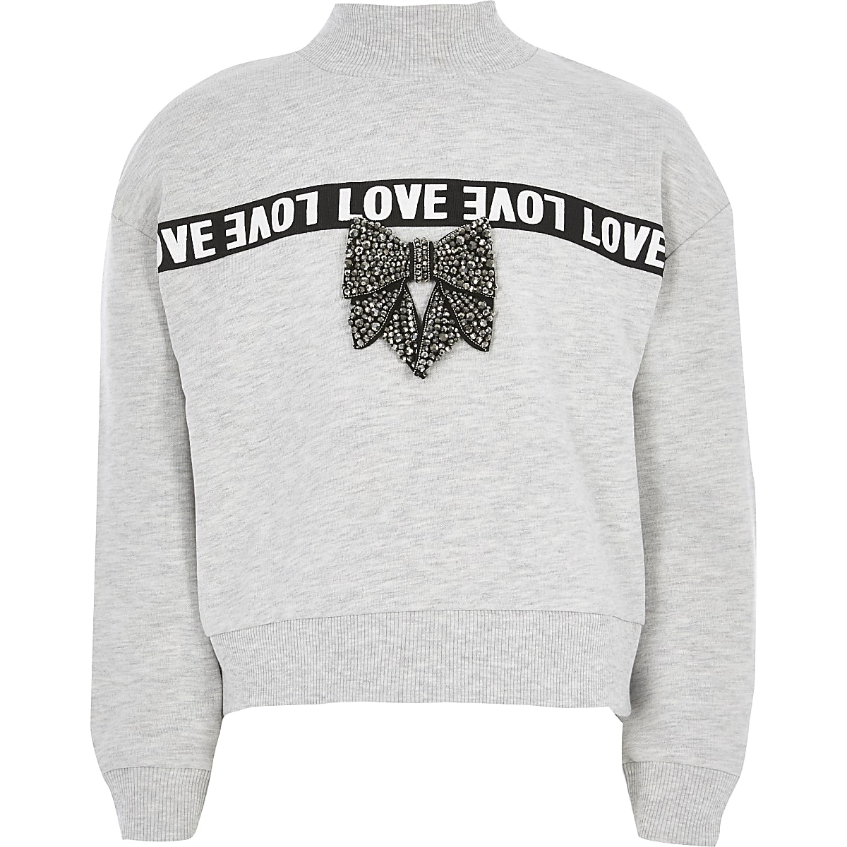 Girls grey 'Love' tape bow sweatshirt
