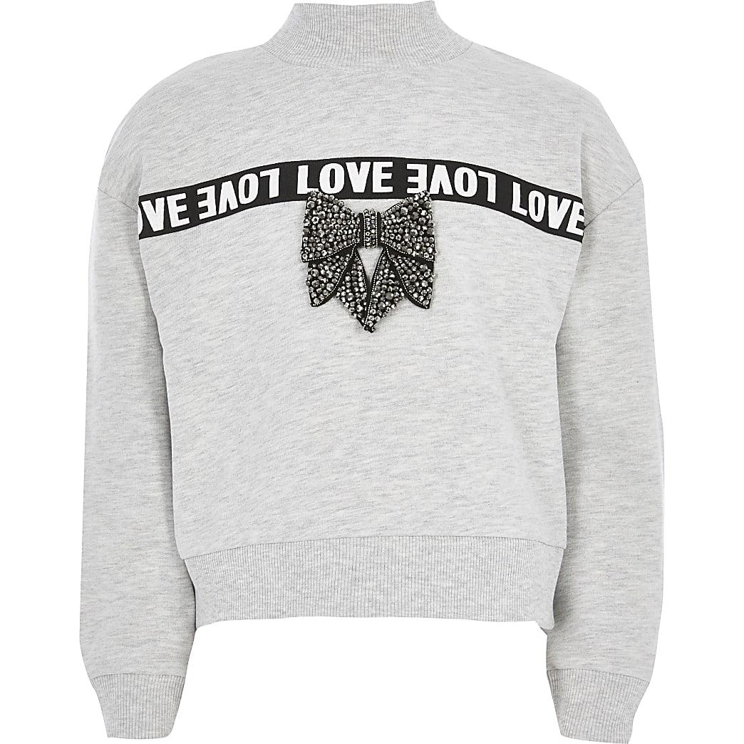 Grijze sweater met 'Love'-bies en strik voor meisjes
