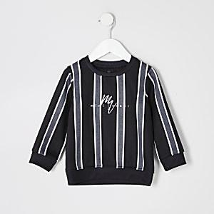Mini-jongens - Zwart gestreept sweatshirt met visgraatmotief