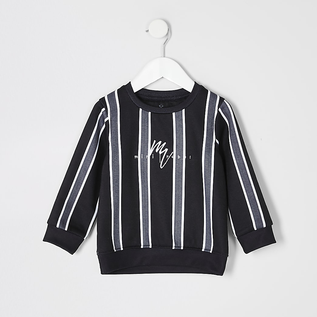Mini boys black herringbone stripe sweatshirt