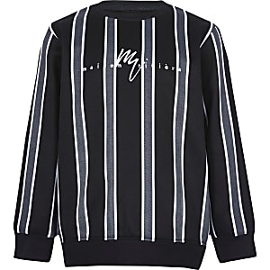 Boys black herringbone stripe sweatshirt