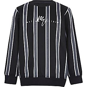 Jongens - Zwart gestreept sweatshirt met visgraatmotief