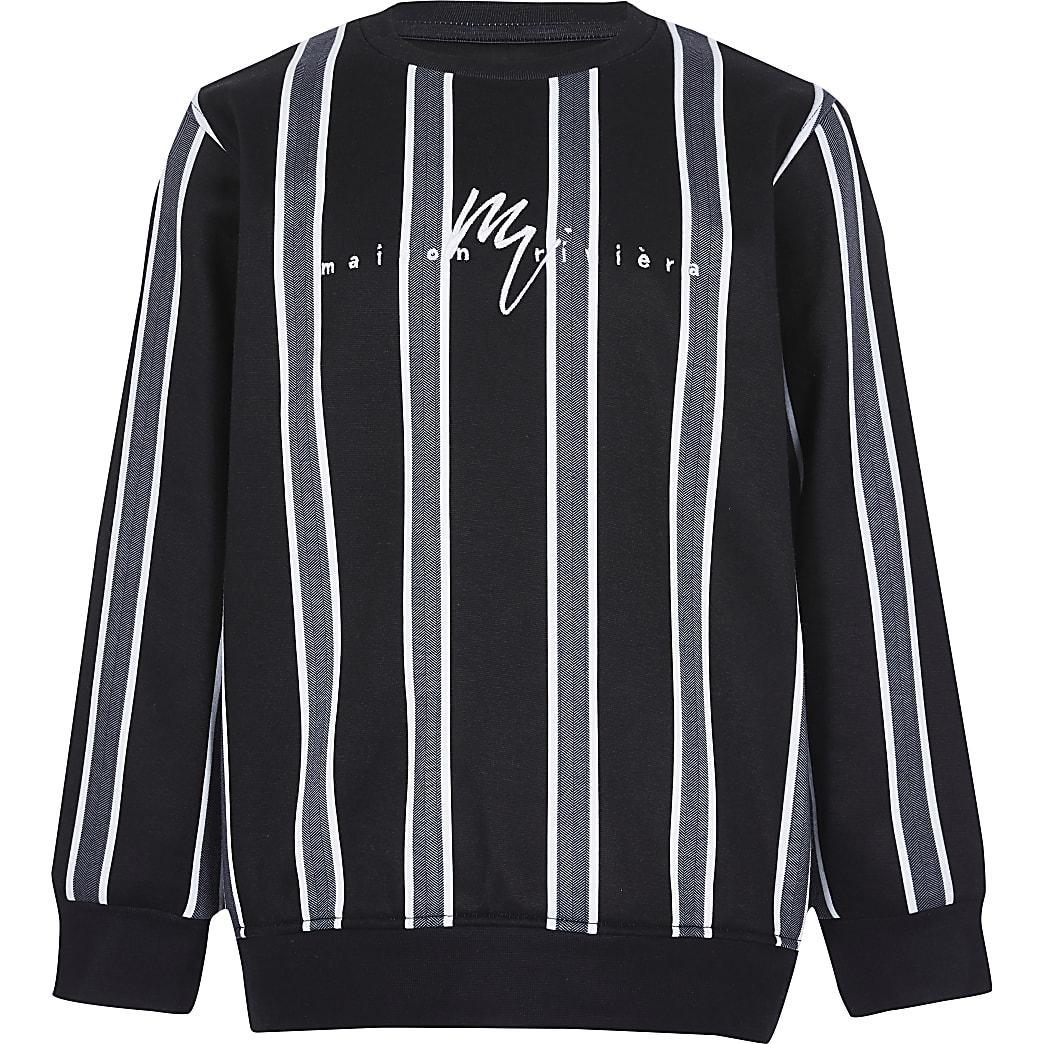 Boys black herringbone stripe sweatshirt