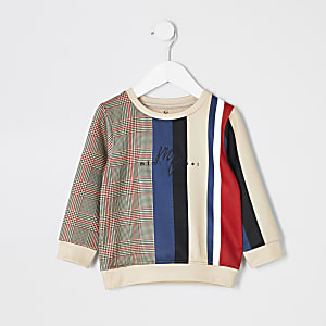 Mini boys stone check stripe sweatshirt