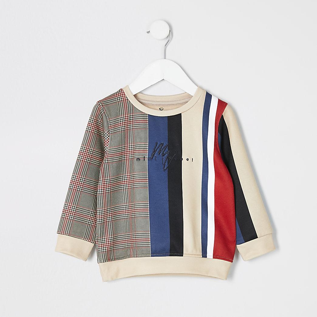 Mini-jongens kiezelkleur geruit en gestreept sweatshirt