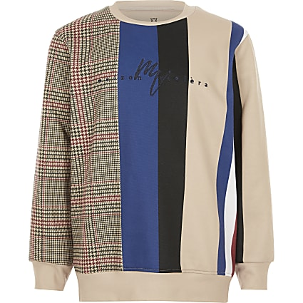 Boys stone check stripe sweatshirt