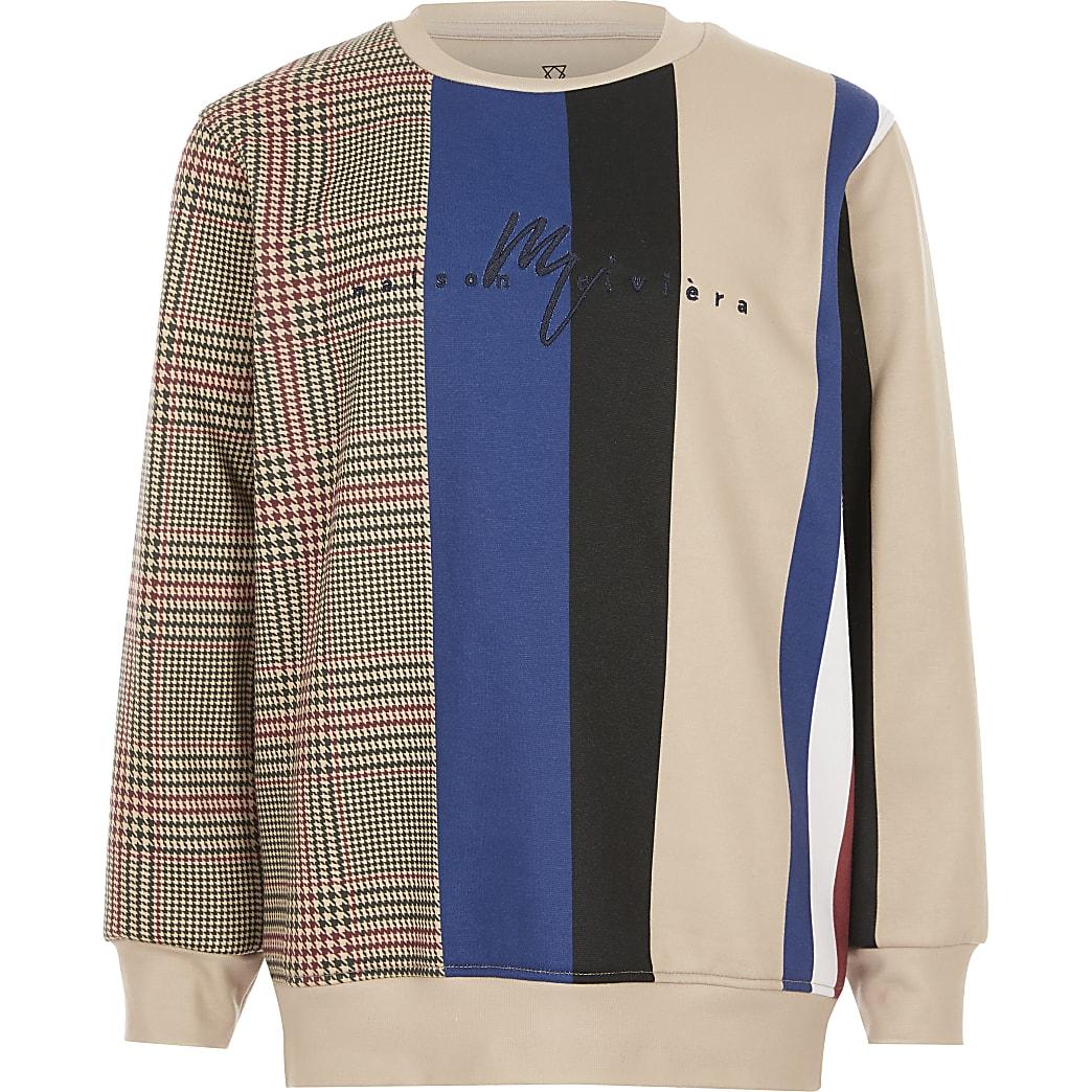 Boys stone check stripe sweatshirt