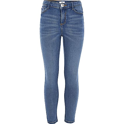 Girls blue Amelie skinny stretch jeans