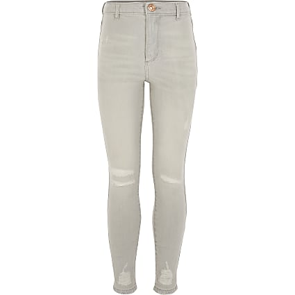 Light grey ripped Kaia high rise jeggings