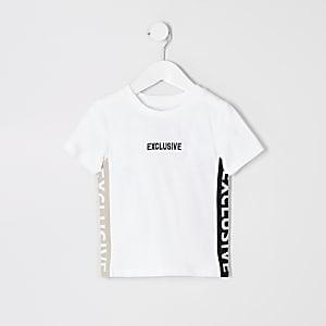 Mini - Wit T-shirt met 'Exclusive'-tekst voor jongens