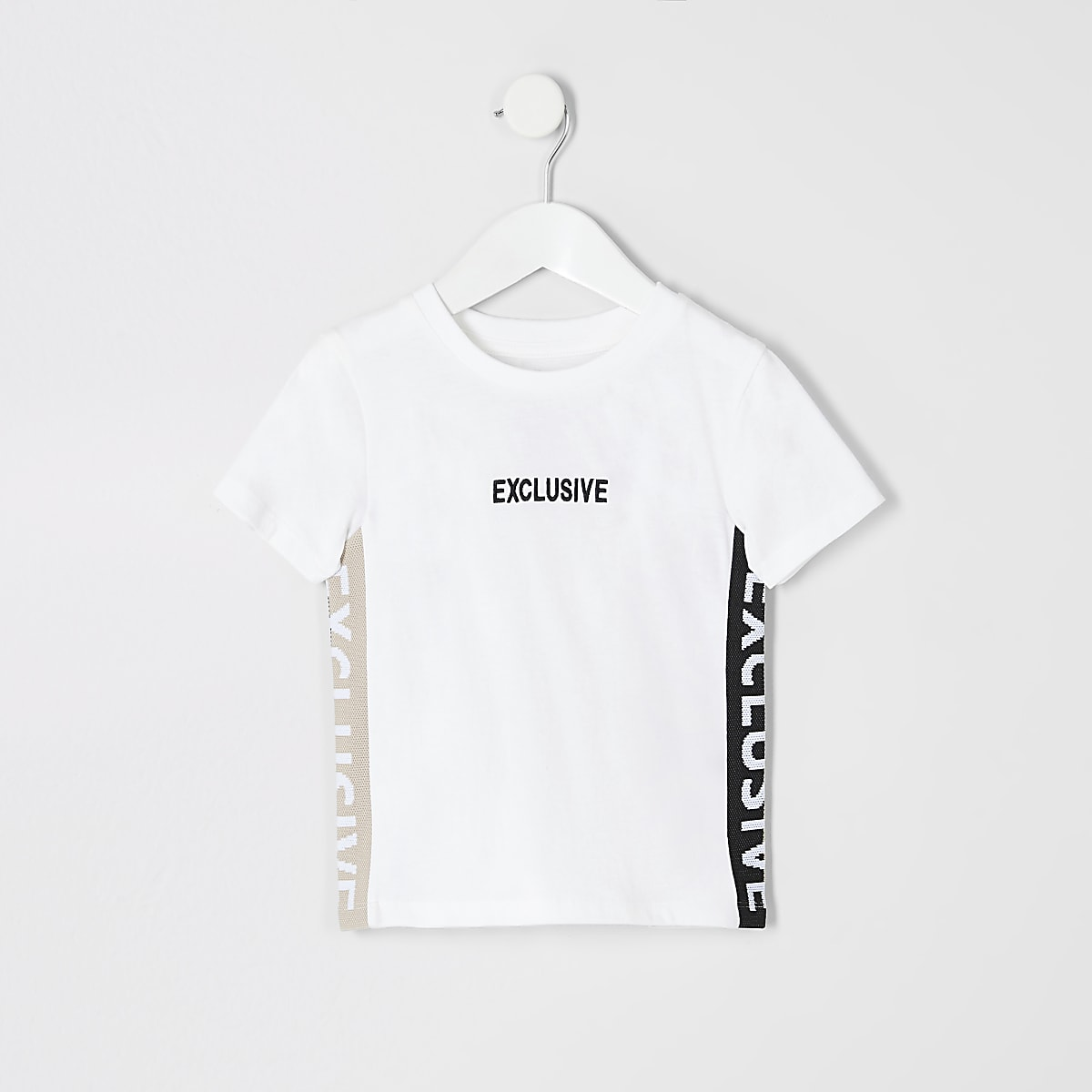 Mini boys white 'Exclusive' tape T-shirt