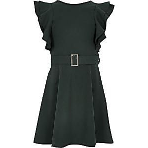 Grünes Gürtelkleid mit Rüschenärmeln im Skaterstil für Mädchen