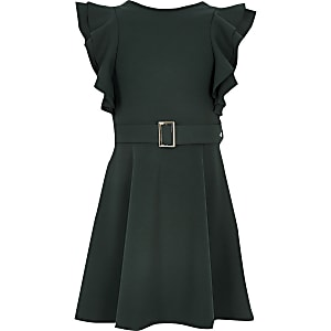 Robe patineuse verte avec ceinture et manchesà volants pour fille