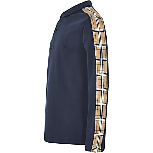 Polo bleu marine à manches longues avec bandesà carreaux pour garçon