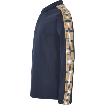 Boys navy check tape long sleeve polo shirt