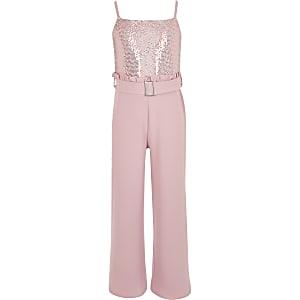 Girls pink sequin frill waist jumpsuit