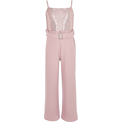 Girls pink sequin frill waist jumpsuit