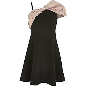 Schwarzes Skater-Kleid mit Paillettenschleife für Mädchen