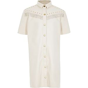 Robe chemise en cuir synthétique crèmeà franges pour fille