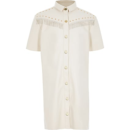 Girls cream faux leather fringe shirt dress