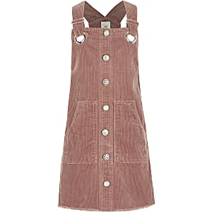 Robe chasuble en velours côtelé roseà boutons pour fille