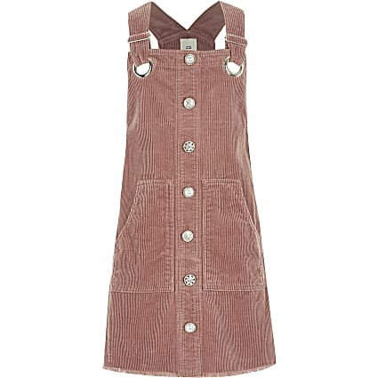 Girls pink button corduroy pinafore dress