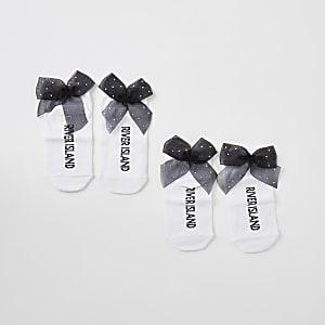 Witte sokken met organza strik en siersteentjes voor meisjes set van 2